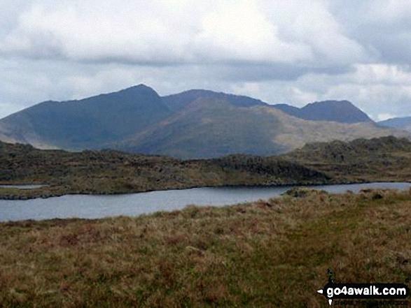 Snowdon (Yr Wyddfa), Garnedd Ugain (Crib y Ddysgl), Y Lliwedd (foreground) and Crib Gochrom from near Llyn yr Adar
