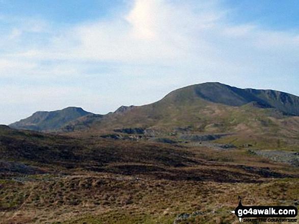 Moelwyn Bach, Bwlch Stwlan, Craigysgafn, Moelwyn Mawr and Moelwyn Mawr (North Ridge Top) (far right) from the col below Moel-yr-hydd