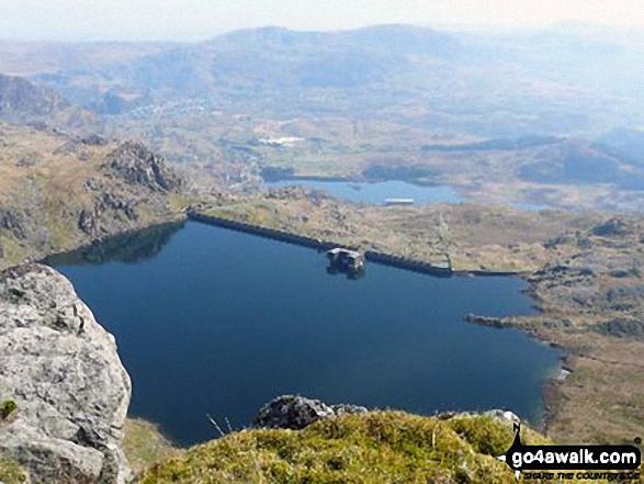 Moel-yr-hydd, Llyn Stwlan, Tanygisiau Dam and Blaenau Ffestiniog from Craigysgafn