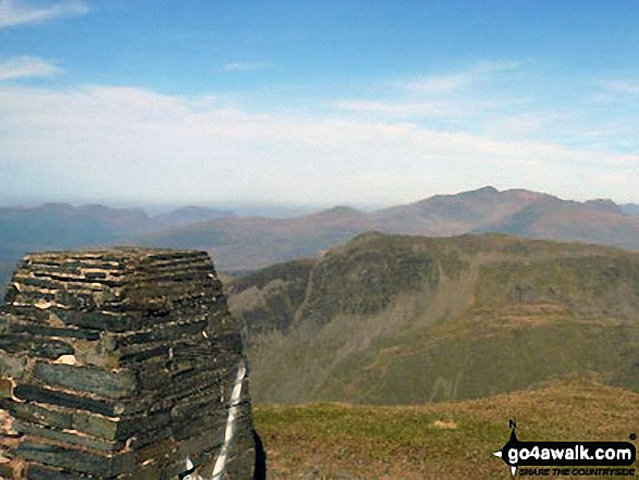 Cnicht and Cnicht (North Top) with The Snowdon Range beyond from Moelwyn Mawr