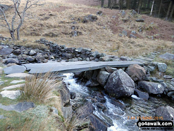 Clapper bridge over Nant Cadair en-route to Mynydd Moel