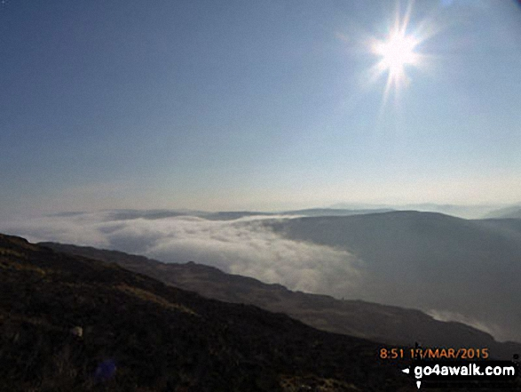 Cloud inversion seen from near the summit of Mynydd Moel