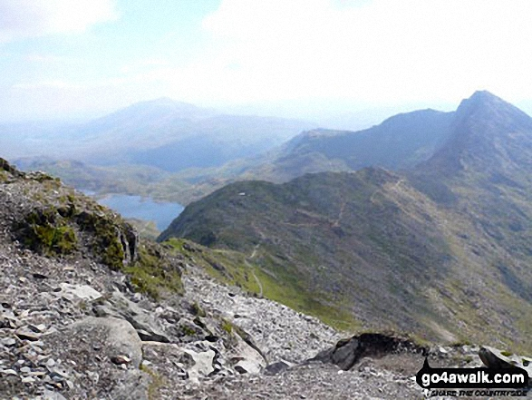 The Watkin Path on Bwlch Ciliau and Y Lliwedd from the top of the Scree Path close to the summit of Snowdon (Yr Wyddfa)