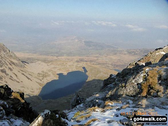 Llyn y Gadair from Cadair Idris (Penygadair) summit trig point