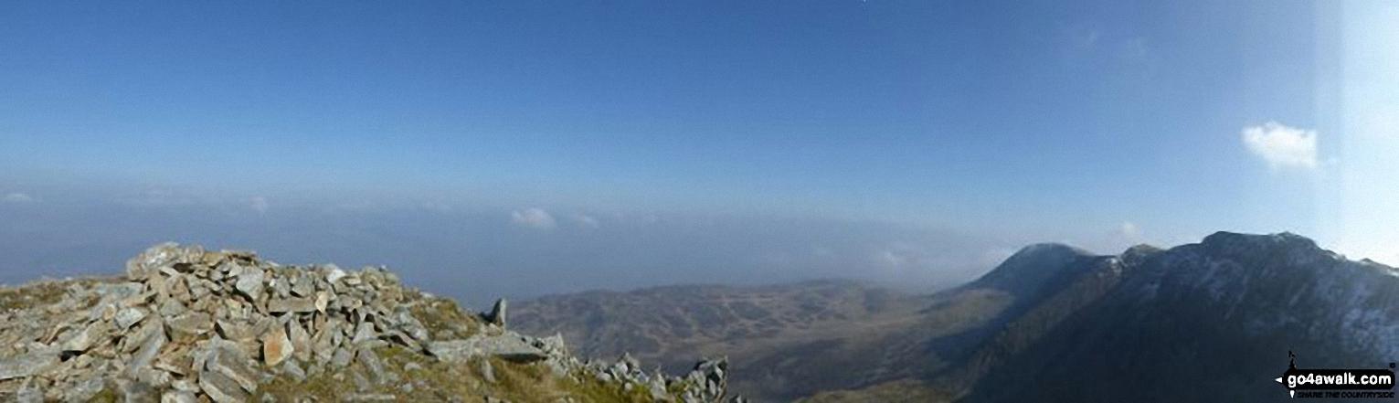 Panorama showing Cyfrwy, Mynydd Moel and Cadair Idris (Penygadair)