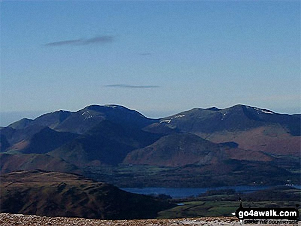 Whiteless Pike, Wandhope, Eel Crag, Hobcarton Pike and Grizedale Pike - with Causey Pike, Barrow (Newlands) and Derwent Water in the foreground from Clough Head