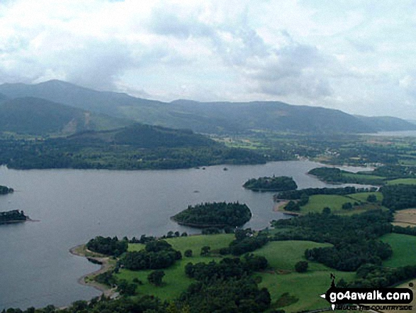 Derwentwater from Walla Crag. Walk route map c201 Ashness Bridge and Walla Crag from Keswick photo