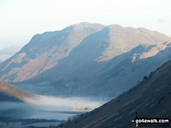 Brothers Water under mist with Angletarn Pikes and Place Fell beyond from the Kirkstone Pass