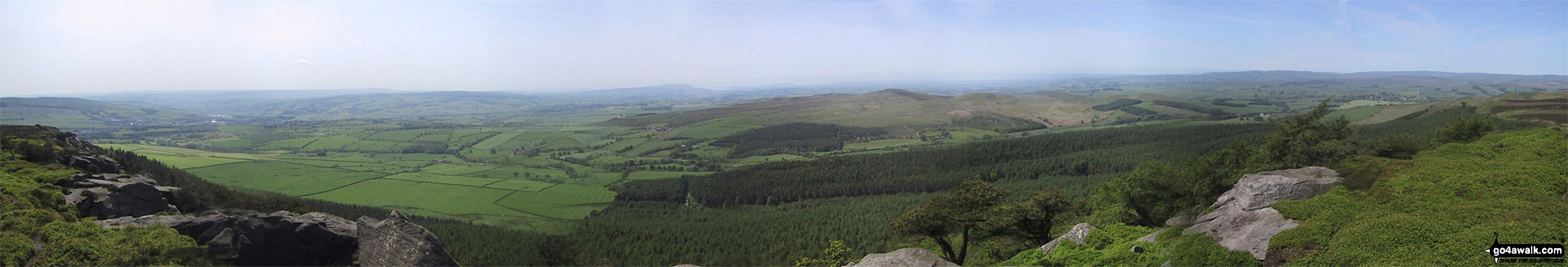 *The panoramic view south from Crookrise Crag Top featuring Rough Haw, Sharp Haw and Skipton