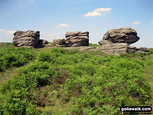 The three huge rocks known as 'Three Ships' on Birchen Edge