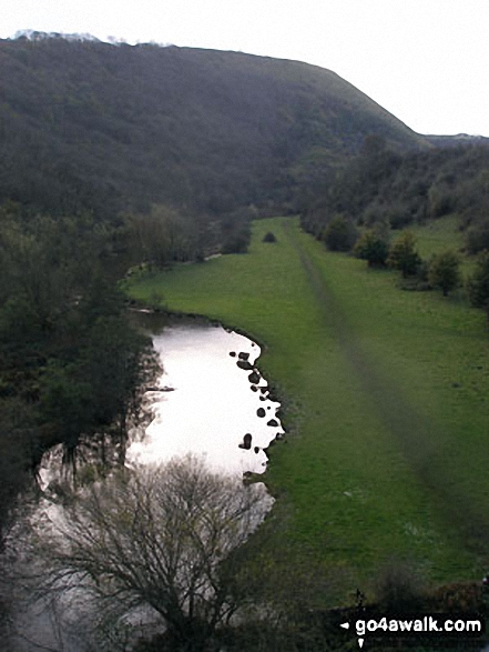 The River Wye and Monsal Dale from Monsal Head Viaduct. Walk route map d270 Monsal Head, Monsal Dale and Deep Dale from Ashford in the Water photo