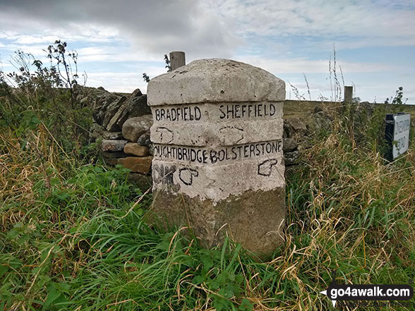 Old sign post on the crossroads near the summit of Onesmoor (Kirk Edge)