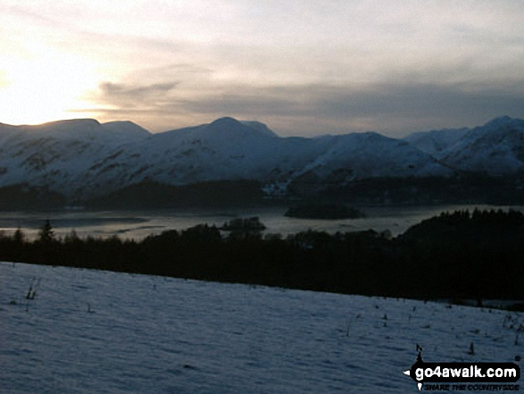 Sunset over Derwent Water with Cat Bells (Catbells) in the background from near Walla Crag