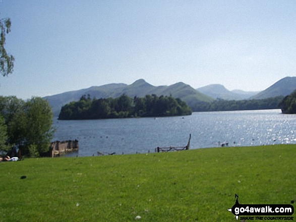 Derwent Water with Cat Bells (Catbells) beyond. Walk route map c399 Cat Bells and Derwent Water from Keswick photo