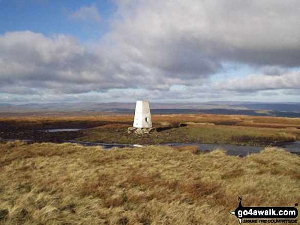 Buckden Pike Trig Point. Walk route map ny137 Buckden Pike via Buckden Beck from Buckden photo