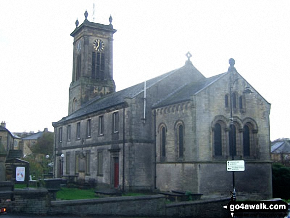 Meltham Church. Walk route map wy106 West Nab and Horseley Head Moss from Meltham photo