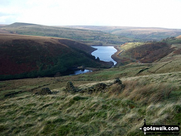 Blakeley Reservoir and Butterley Reservoir from Horseley Head Moss. Walk route map wy106 West Nab and Horseley Head Moss from Meltham photo