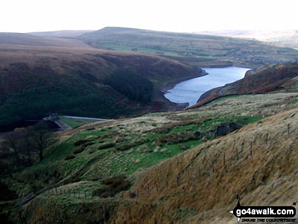 Butterley Reservoir from Horseley Head Moss. Walk route map wy106 West Nab and Horseley Head Moss from Meltham photo