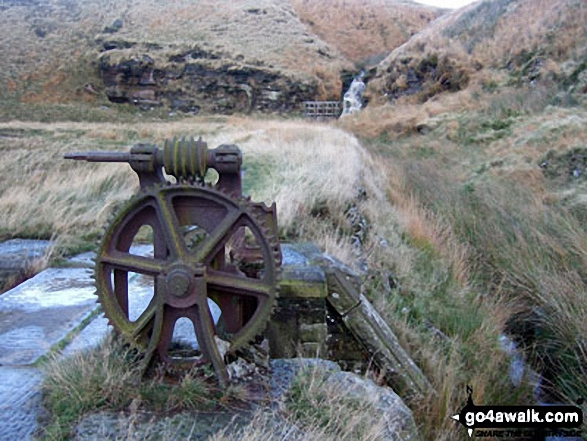 Old Sluice Gate Workings on Binn Moor. Walk route map wy106 West Nab and Horseley Head Moss from Meltham photo