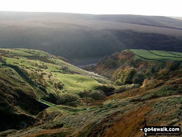 The Wessenden Valley from Binn Moor. Walk route map wy106 West Nab and Horseley Head Moss from Meltham photo