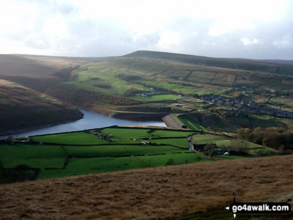 Butterley Reservoir and Marsden from Binn Moor. Walk route map wy106 West Nab and Horseley Head Moss from Meltham photo