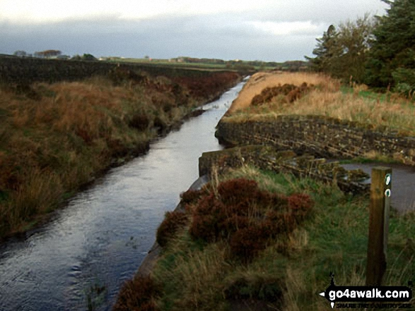 Drainwater Ditch near Deer Hill Reservoir. Walk route map wy106 West Nab and Horseley Head Moss from Meltham photo