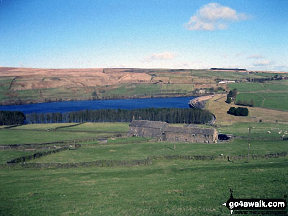 Great Manshead Hill and Baitings Reservoir from near Higher Wormald