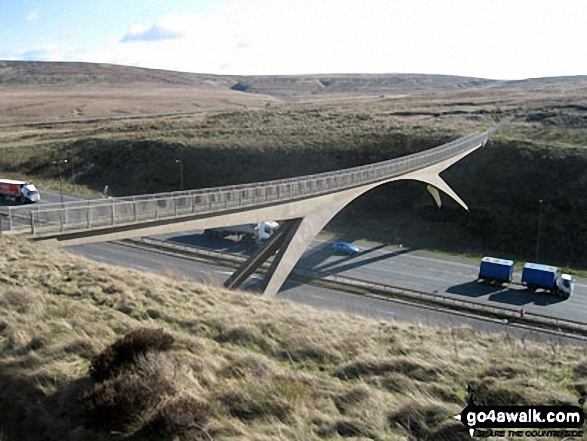 The Pennine Way footbridge across the M62