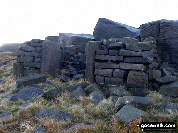 Ruin near the top of West Nab. Walk route map wy106 West Nab and Horseley Head Moss from Meltham photo