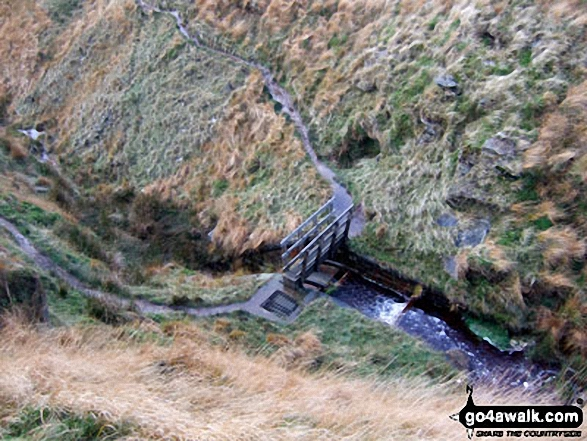 Looking down on the footbridge over Hey Sike Clough, Horseley Head Moss