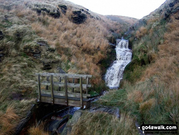 The footbridge over Hey Sike Clough, Horseley Head Moss. Walk route map wy106 West Nab and Horseley Head Moss from Meltham photo