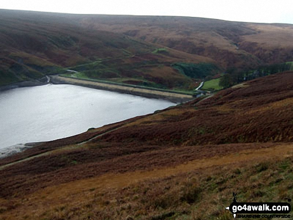 Wessenden Reservoir from Horseley Head Moss. Walk route map wy106 West Nab and Horseley Head Moss from Meltham photo