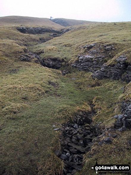 Climbing Yockenthwaite Moor via Strans Gill. Walk route map ny133 Yockenthwaite from Buckden photo
