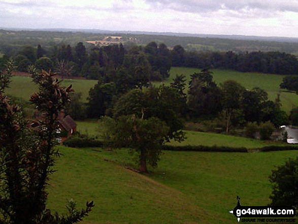 The Surrey Countryside from The Greensand Way above Castlehill Farm. Walk route map su125 South Nutfield from Bletchingley photo