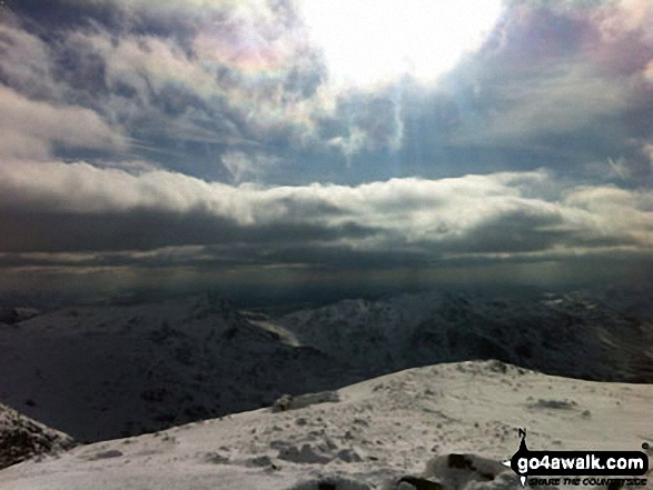 Scafell Pike in the snow!!. Walk route map c454 Scafell Pike via The Corridor Route from Seathwaite photo