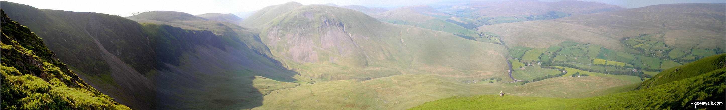 Cautley Crag, Cautley Spout, Yarlside, Cautley Holme Beck, and Cross Keys from Great Dummacks
