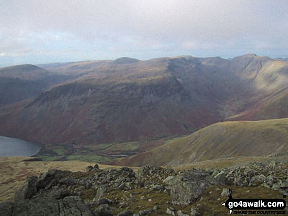Yewbarrow (centre) and Pillar (right) from Sca Fell
