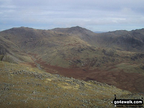Esk Pike and Bow Fell (Bowfell) from Slight Side