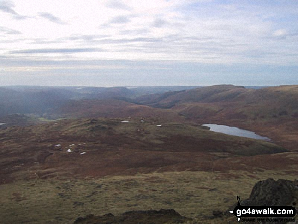 Burnmoor Tarn from Slight Side. Walk route map c166 The Scafell Masiff from Wha House Farm, Eskdale photo