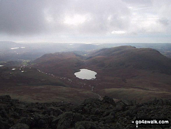 Burnmoor Tarn from Sca Fell. Walk route map c233 Sca Fell and Scafell Pike from Wasdale Head, Wast Water photo