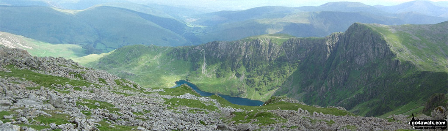 The Minffordd Path route - Craig Lwyd (left), Craig Cwm Amarch (right) with Llyn Cau below from Cadair Idris (Penygadair)