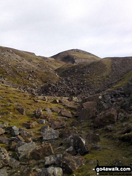A 'Moonscape' - looking back up through the spoil heaps of Fell End Lead Mine at the NW end of Fremington Edge