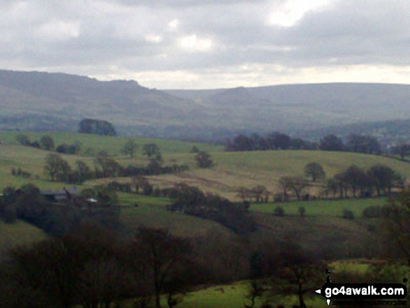 The Roaches, Hen Cloud and the Staffordshire Moorlands from the Gritstone  Trail on Wincle Minn