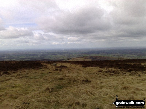 The Cheshire Plain with Jodrell Bank in the distance from the Gritstone Trail on Croker Hill