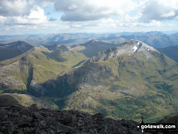 The Mamores featuring An Gearanach (left) and Sgurr a' Mhaim (right) from the summit of Ben Nevis. Walk route map h154 Ben Nevis and Carn Mor Dearg from The Nevis Range Mountain Gondola photo