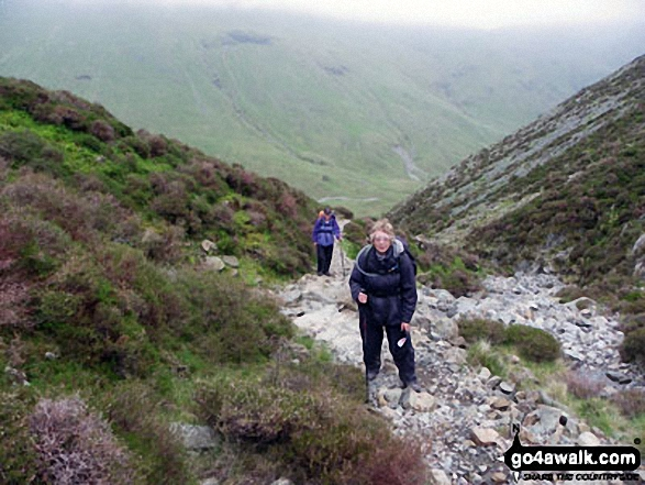Jenny and Brenda climbing out of Ennerdale via Loft Beck May 2010