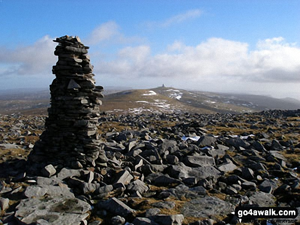 Great Dun Fell and Little Dun Fell from the tall cairn on Cross Fell summit plateau