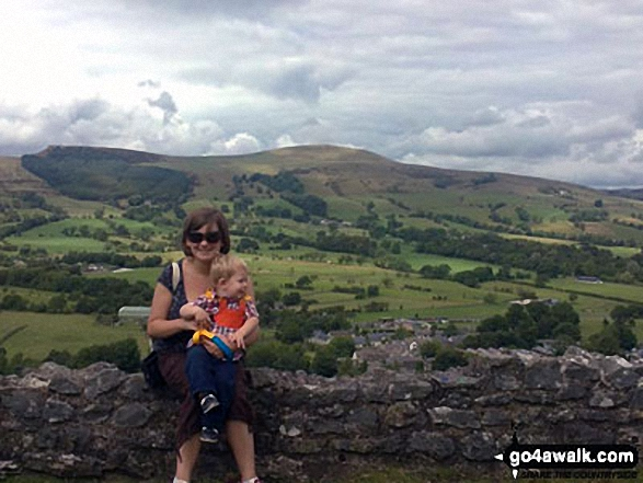 Me and my son in Castleton with Back Tor (Hollins Cross) (left) and Lose Hill (Ward's Piece) (right) in the background. Walk route map d123 Mam Tor via Cavedale from Castleton photo