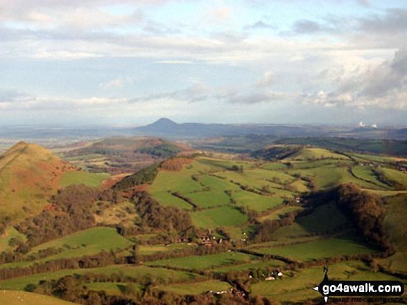 Walk sh103 Ragleth Hill and Caer Caradoc Hill from Church Stretton - The Lawley (far left) and The Wrekin (in the distance) from Caer Caradoc Hill