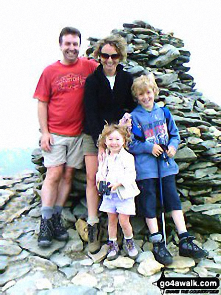 4/5 of the Kerr Family on The Old Man Of Coniston walk The Lake District Cumbria England walks